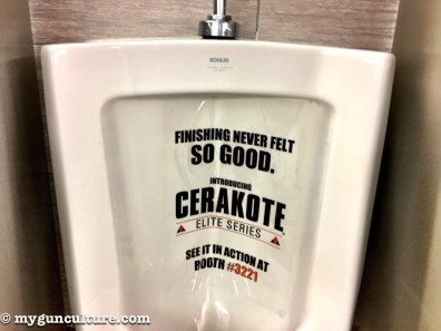 There's always clever marketing from Cerakote, at least in the convention center men's rooms.