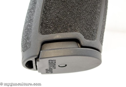 Note how the Sig Sauer P320 has cutouts above the magazine base plate. That provides an easy way to tear the magazine out in case of malfunction.