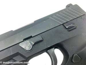 Takedown of the Sig P320 is easy - just rotate the left side frame lever.