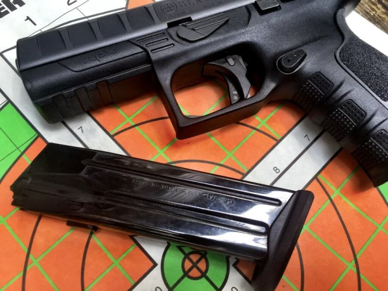 The APX family uses quality steel magazines with witness holes just like earlier models.