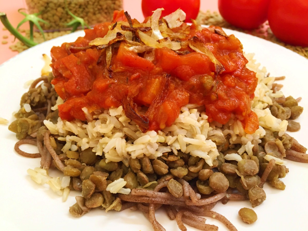 Healthy Egyptian Koshari Recipe Tomato Lentils Rice