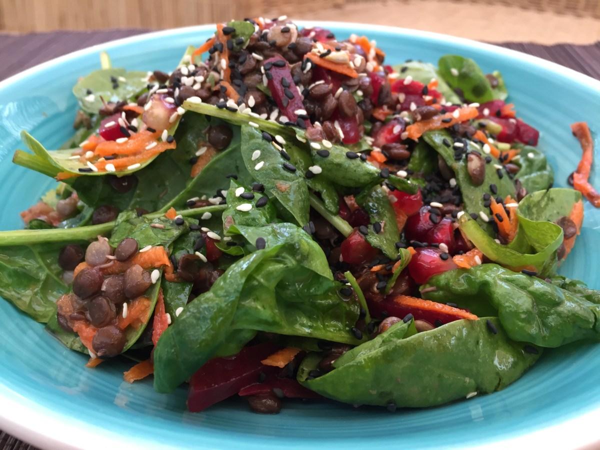 Lentils, Spinach, Salad