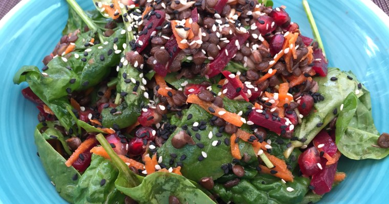 Green Lentil and Spinach Salad