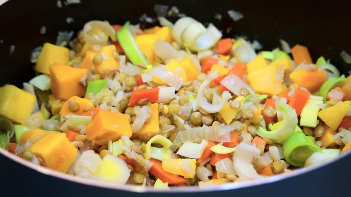 Pot Soup Lentils Vegetables Squash