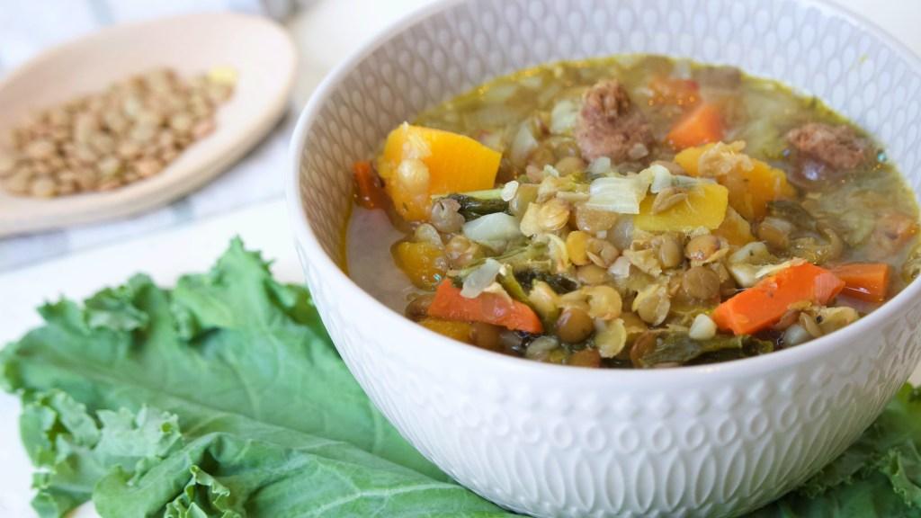 Bowl, Kale, Lentil Soup