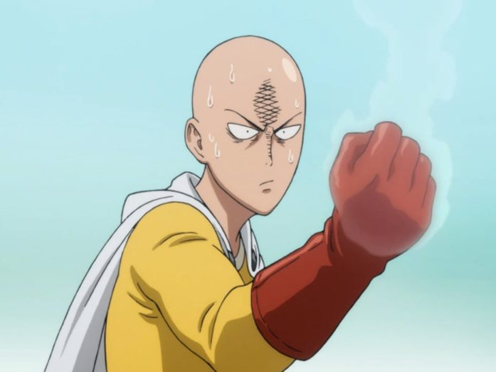 one punch man saitama with fiery fists and angry face