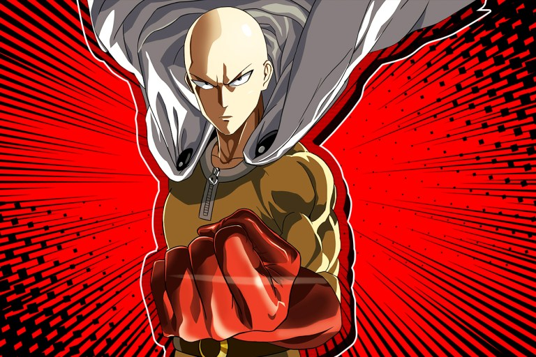 one punch man saitama with curled up fists and angry face, red background