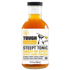 Tough Mother Steept Apple Cider Vinegar Shots with the Mother - Organic Formula helps with bloating relief and weight management and appetite suppressant | Sweet and Spicy - 32 fl oz