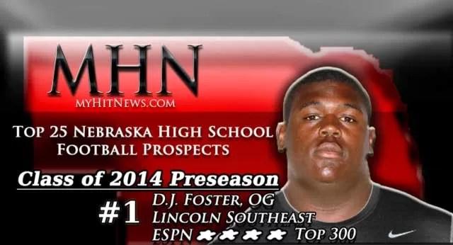 MHN Class of 2014 Preseason Top 25 Nebraska High School Football Prospects banner featuring D.J Foster