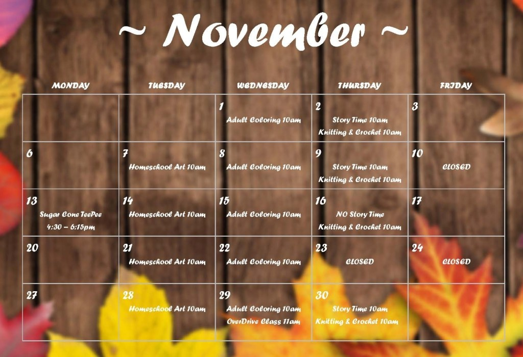 hardee november 2017 calendar