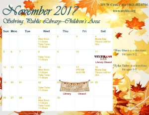 Sebring childrens calendar NOV 2017 - Heartland Library