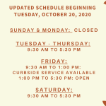 Highlands County Libraries have updated their schedule. We are excited to see our friendly patrons more hours in the week now! Sunday-Monday: CLOSED Tuesday-Thursday: 9:30 AM to 5:30 PM Friday: CURBSIDE: 9:30 AM to 1:00 PM and LIBRARY OPEN: 1:00 PM to 5:30 PM Saturday: 9:30 AM to 5:30 PM.
