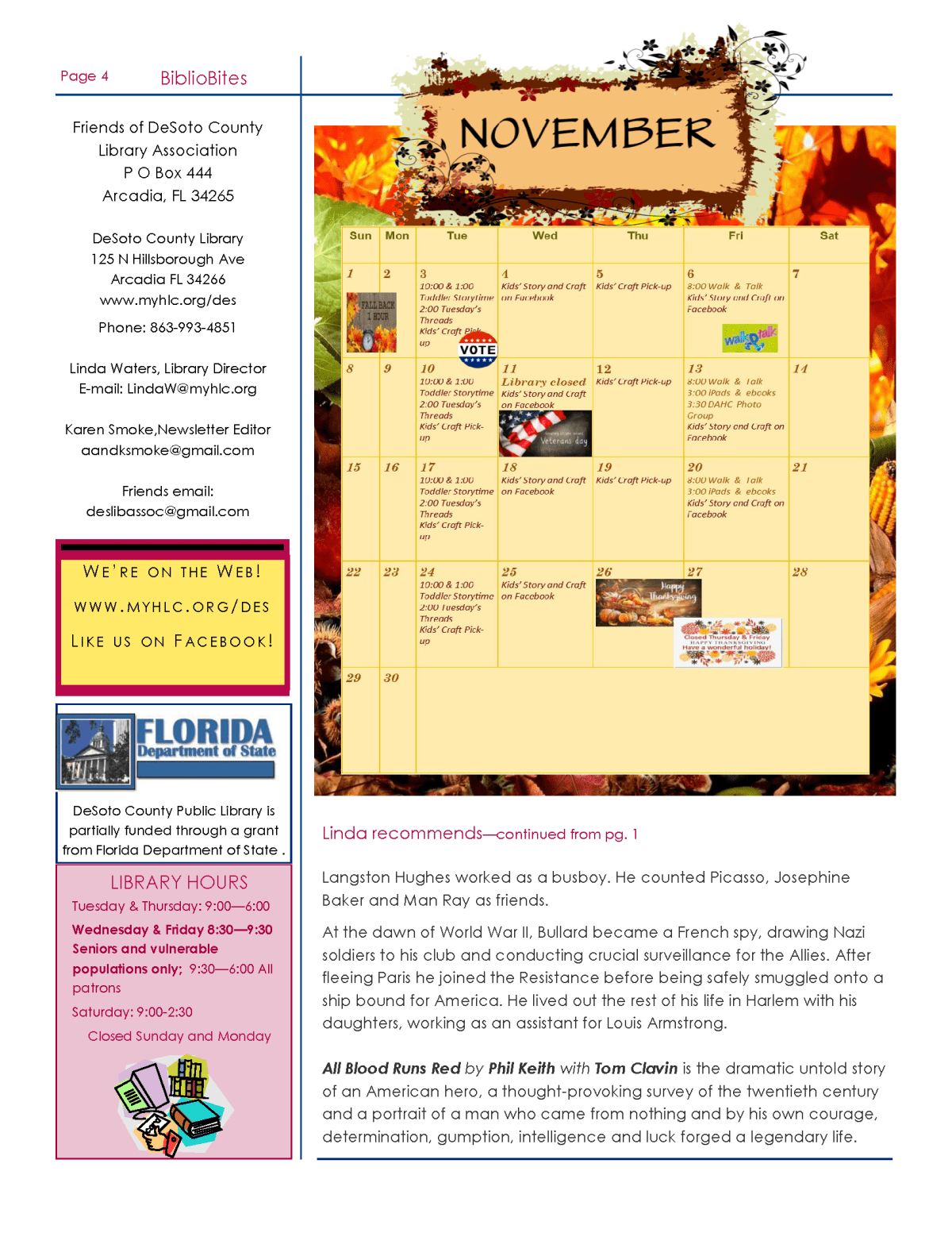 Page four of DeSoto November Newsletter, available for PDF download