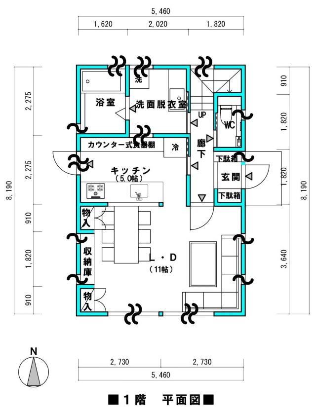 間取り 間口5.5m 1階 44.64㎡(13.5坪)