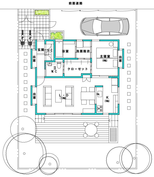 平屋シニア住宅18坪 平面図