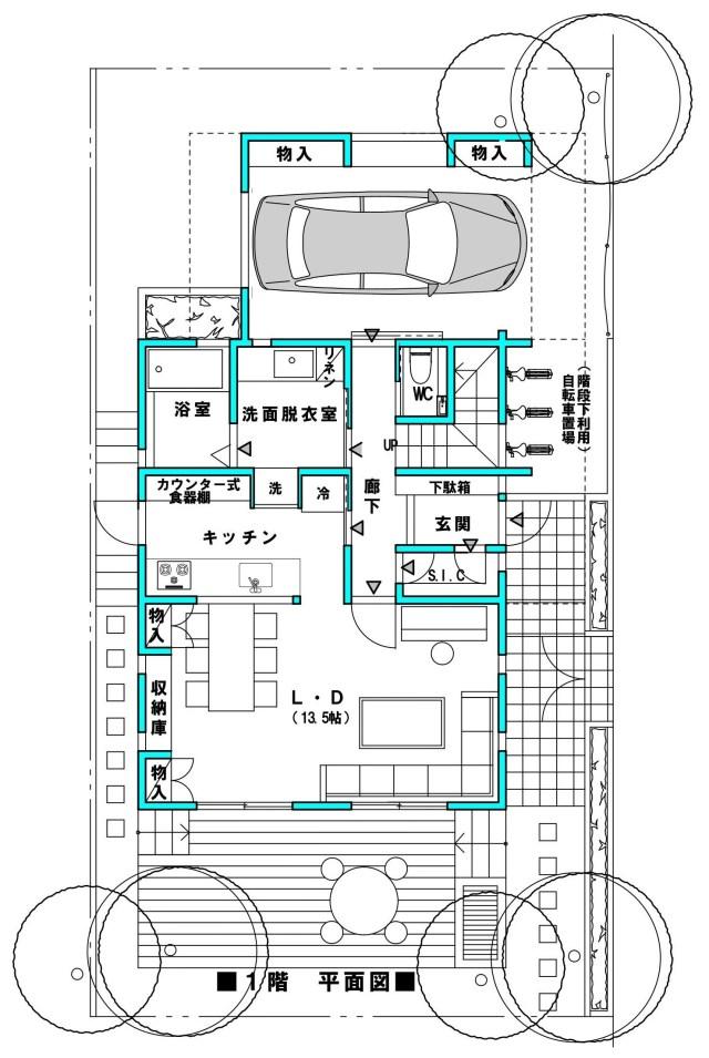 戸建 間口6.4 4LDK インナーガレージの家 1F