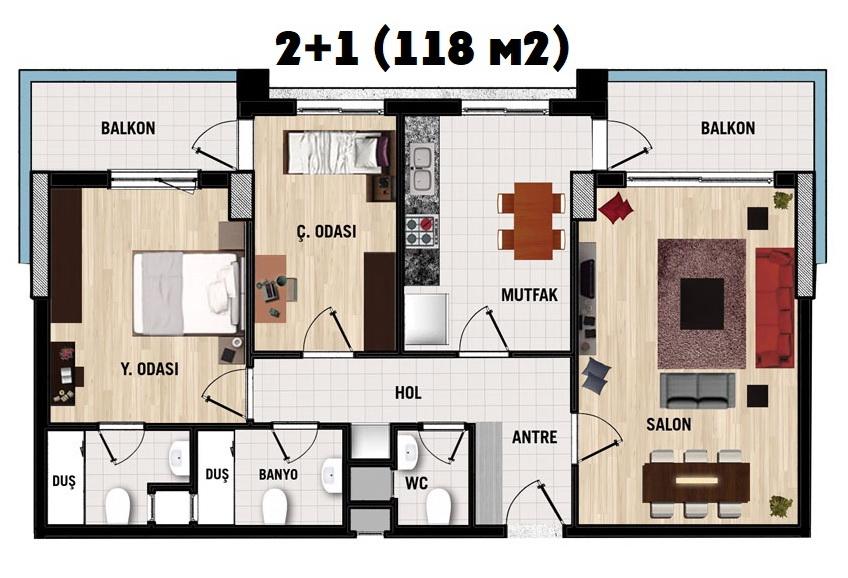 Tepesehir Dosemealti (2+1) продажа квартиры в Анталия, Дешемеалты АПАРТЫ анталия - sale, фото 13
