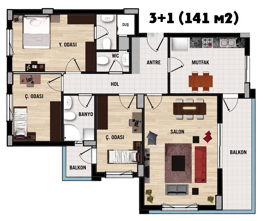 Tepesehir Dosemealti (3+1) продажа квартиры в Анталия, Дешемеалты АПАРТЫ анталия - sale, фото 9