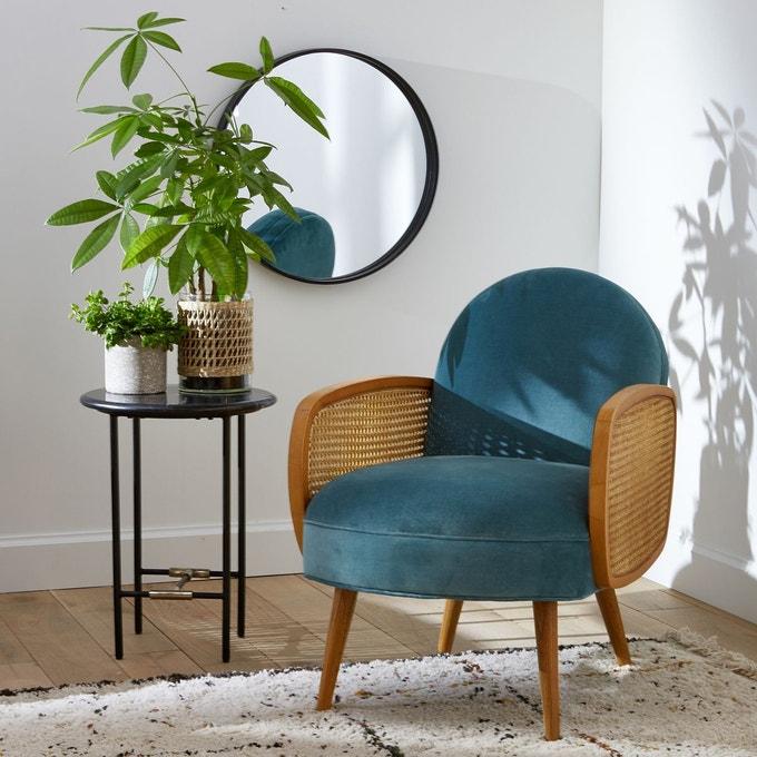 fauteuil en velours et rotin