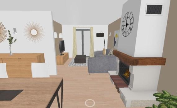 plan 3D salon coaching déco