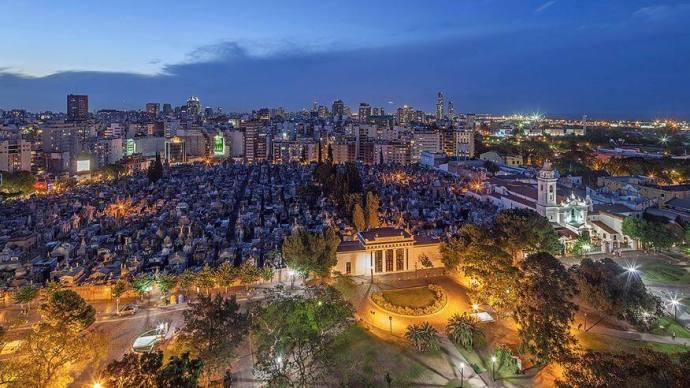 Vista aérea del Cementerio de la Recoleta