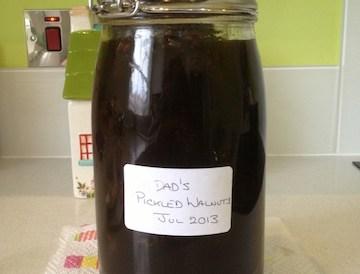 Picked walnuts in a jar