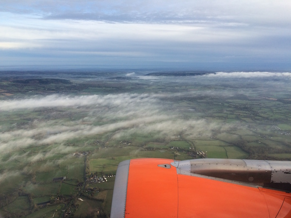 Looking out of the plane window on an easyJet plane