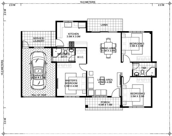 Single Story Three Bedroom House Plan - MyhomeMyzone.com
