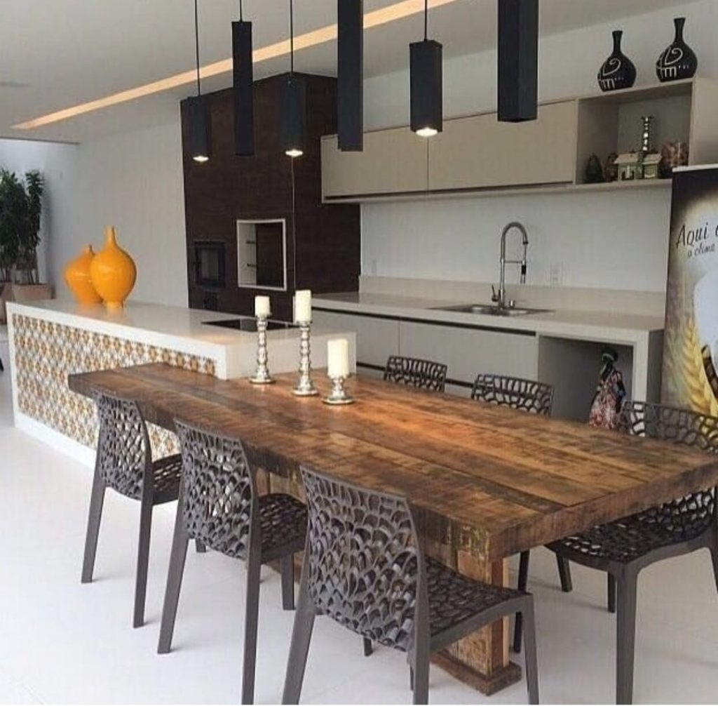Modern wood kitchen table