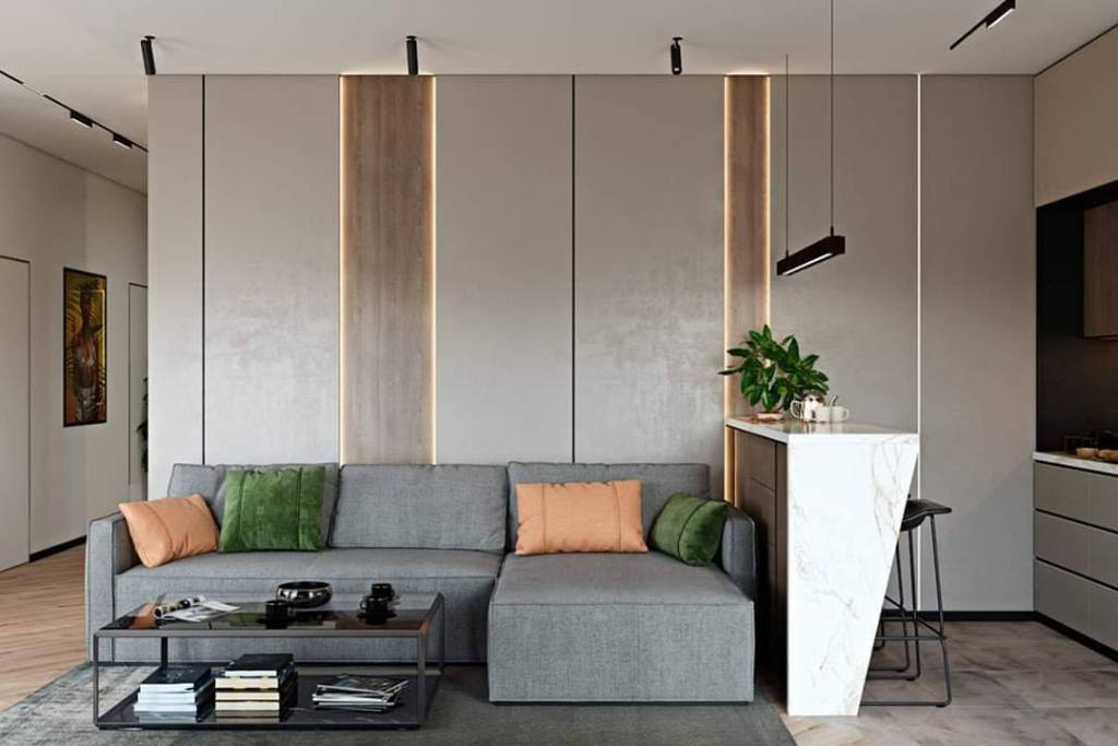Modern living room wall panel design