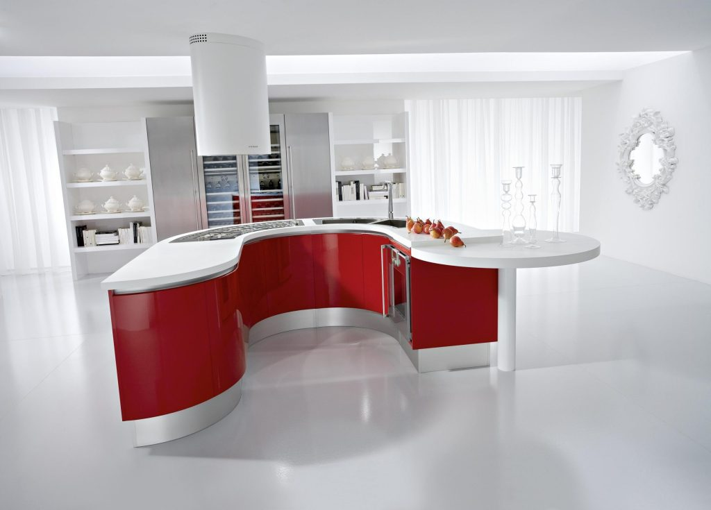 only white and red color kitchen design
