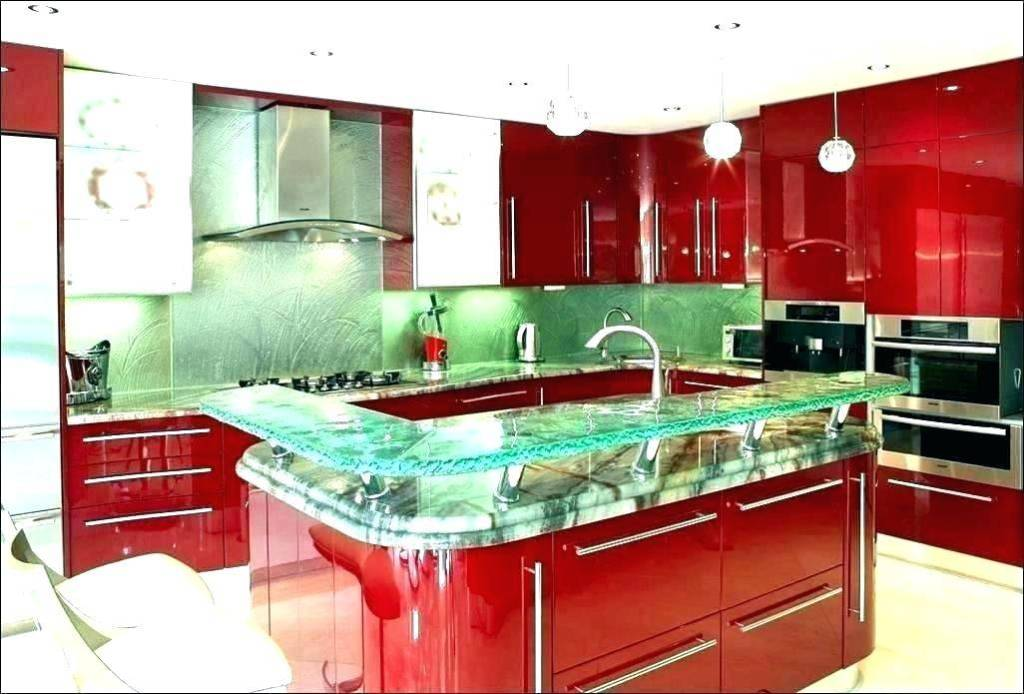 decorated red color kitchen