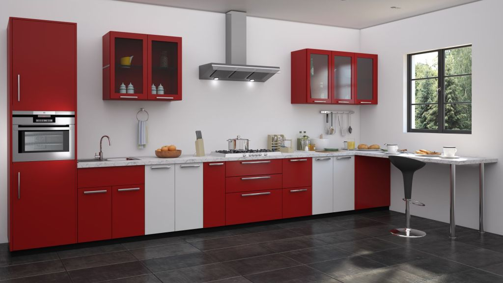 red kitchen with lots of spaces