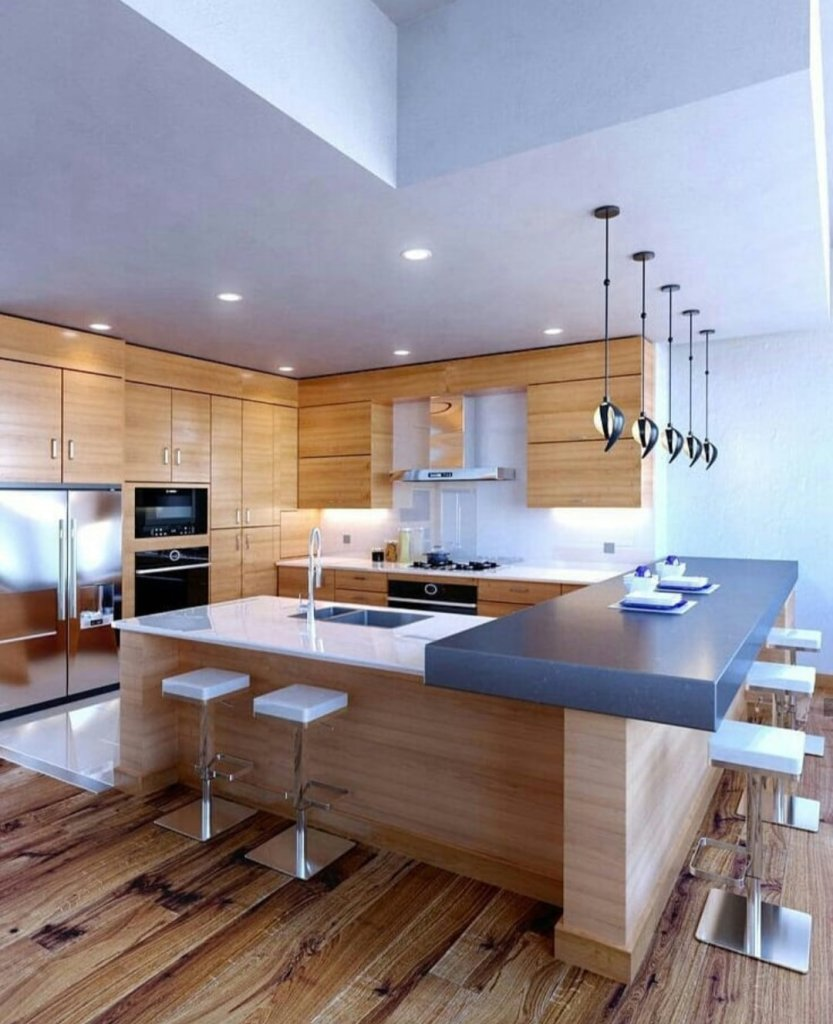 Modern kitchen design with light woods