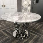 Zara 120cm Grey Round Marble Dining Table Dining Room My Home Rock