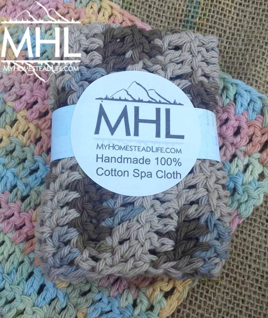 Handmade 100% Cotton Spa Washcloth Homestead Life www.myhomesteadlife.com/shop