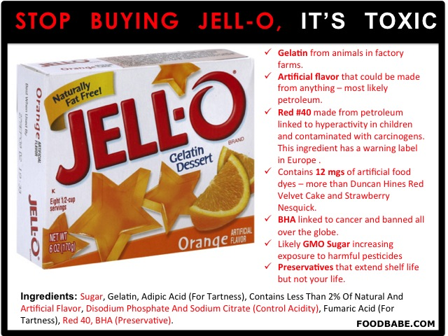 Food Babe Jello- Ingredients