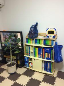ワールドファミリーのディズニー英語教材の棚がテレビと観葉植物の隣にあります