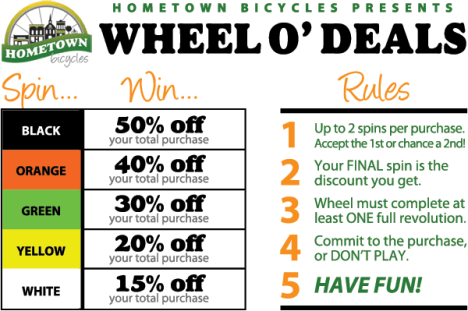 Hometown Bicycles Wheel O' Deals Rules