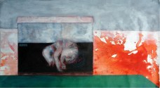 A painting by Dr.Raj Kumar Mazinder Red Rhino I, acrylic on canvas, 28X 27 Inches, 2011