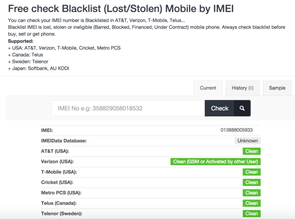 blacklist check for iphone