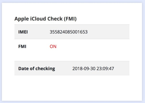 Check icloud Find My Iphone ON OFF with IMEI
