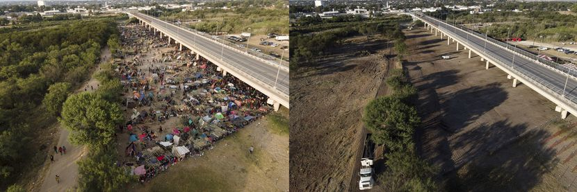 This photo combination shows an area where migrants, many from Haiti