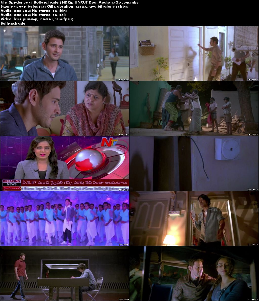 Spyder 2017 HDRip 480p UNCUT Hindi Dual Audio 400MB