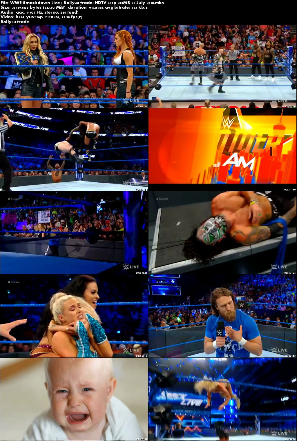 WWE Smackdown Live HDTV 480p 300MB 31 July 2018 Download