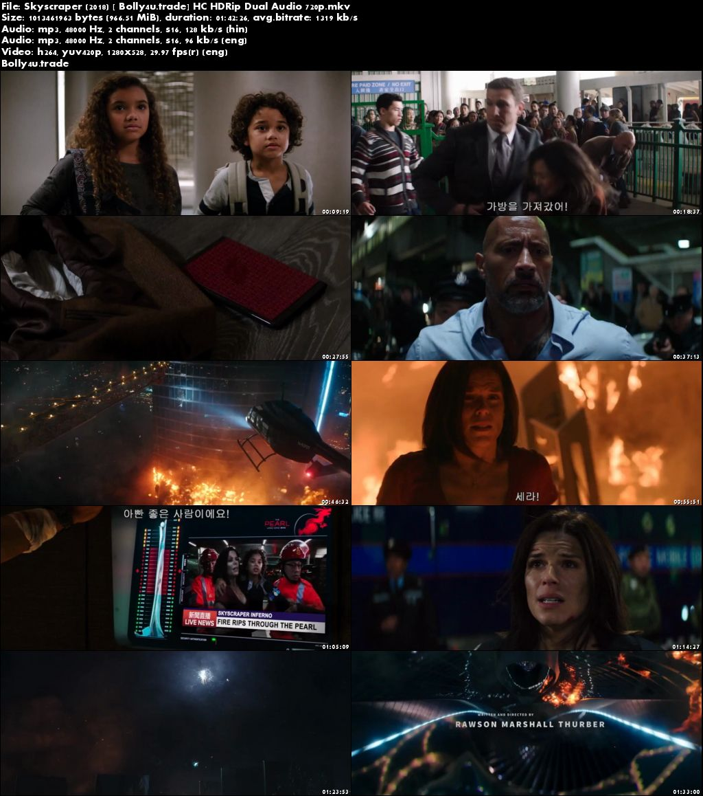 Skyscraper 2018 HC HDRip 350MB Full Hindi Dual Audio Movie Download 480p