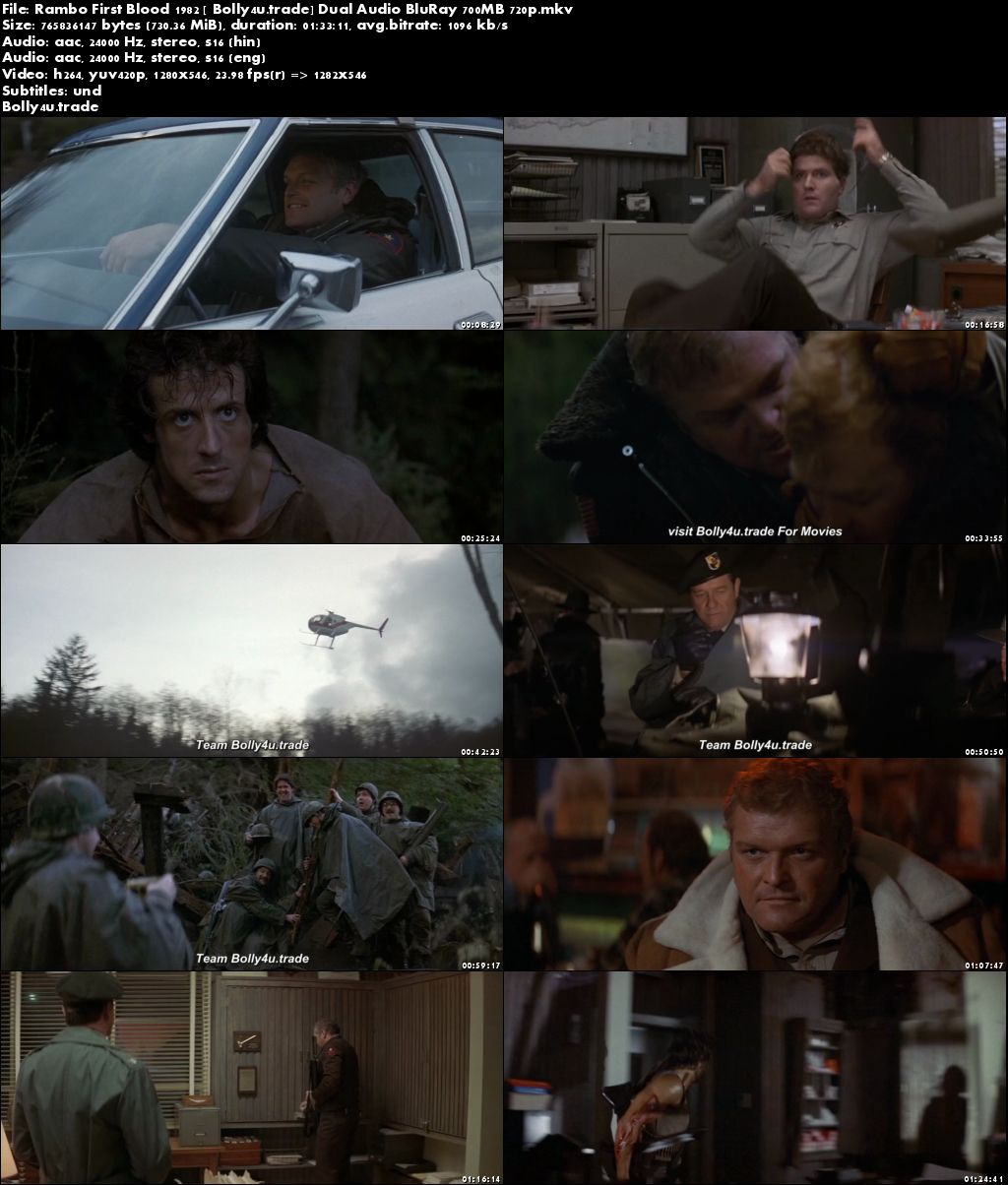 Rambo First Blood 1982 BluRay 300MB Hindi Dual Audio 480p Download