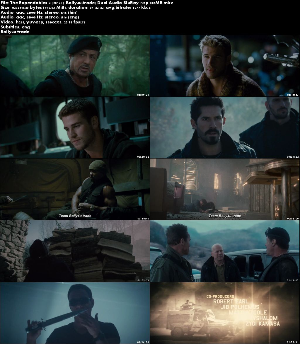 The Expendables 2 2012 BluRay 800Mb Hindi Dual Audio 720p ESub Download