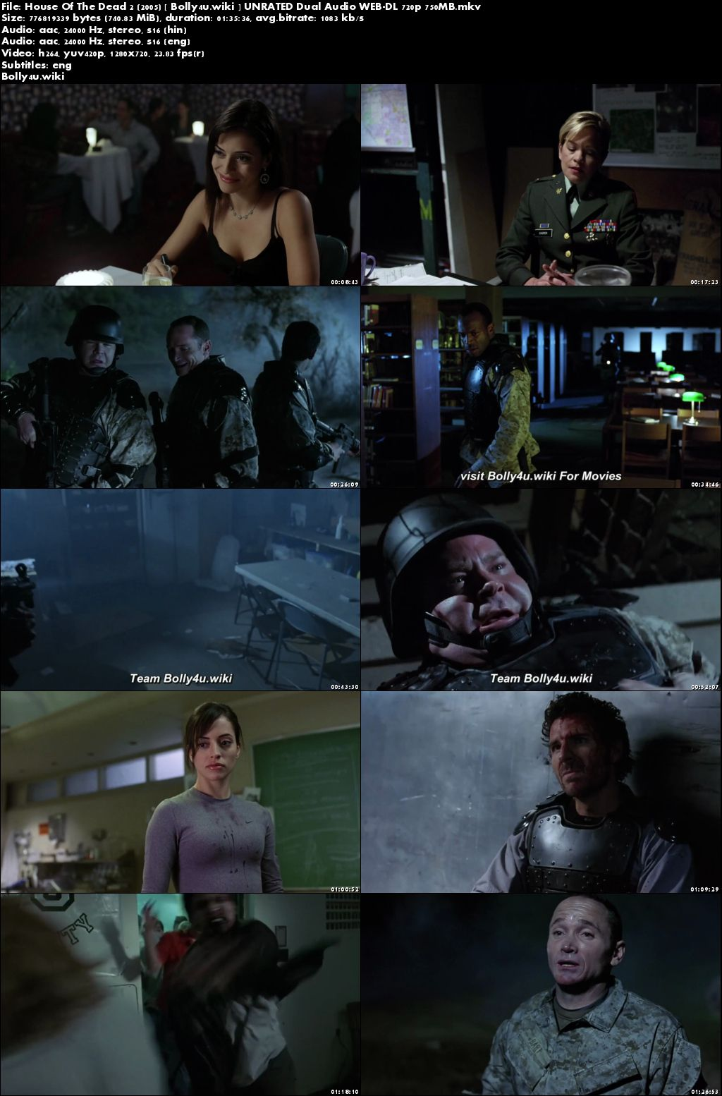 House Of The Dead 2 2005 WEB-DL 750MB UNRATED Hindi Dual Audio 720p Download