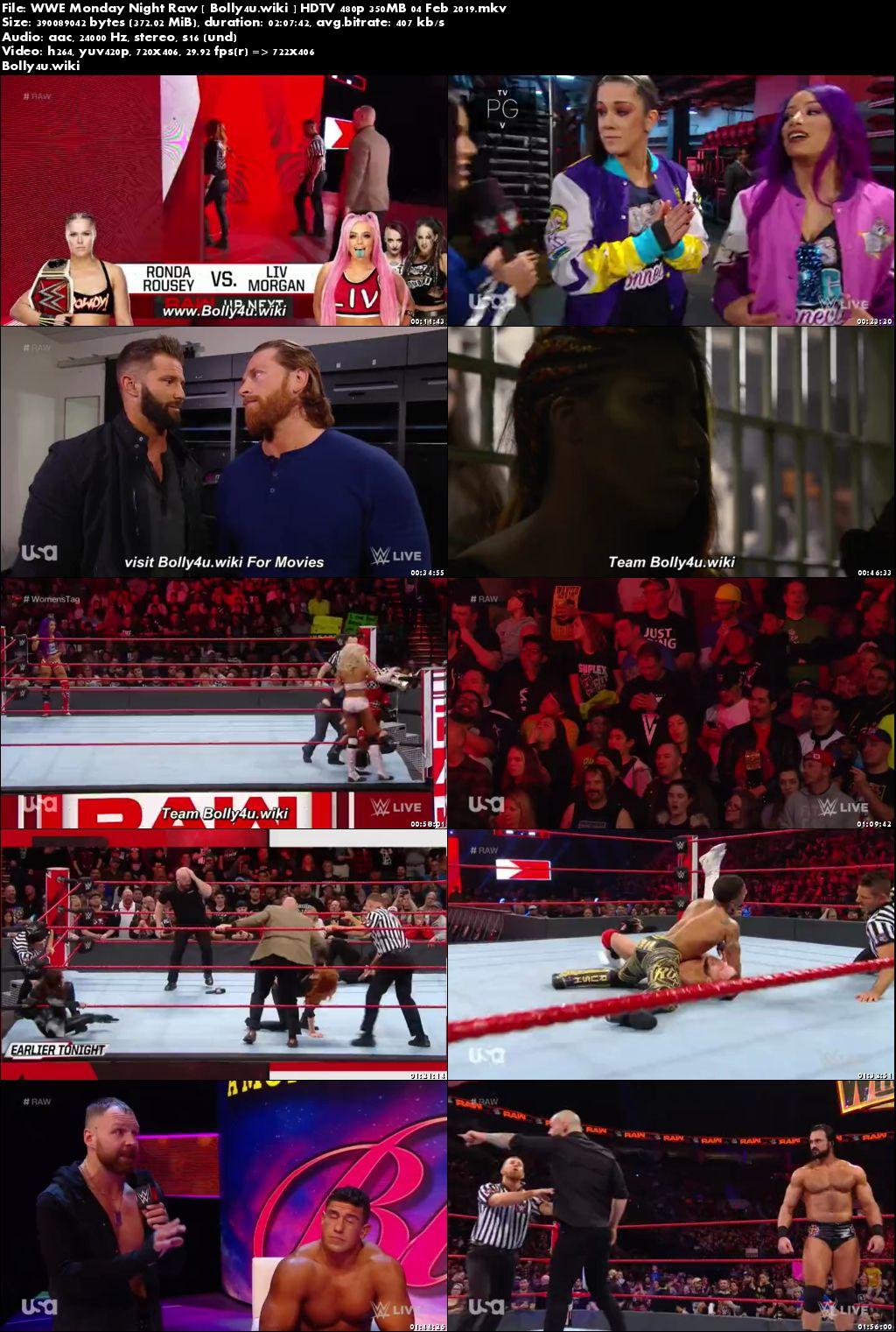 WWE Monday Night Raw HDTV 480p 350MB 04 Feb 2019 Download